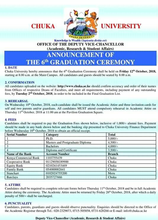Chuka University 6th Graduation